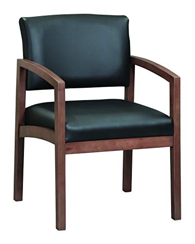 OfficeSource Dover Designer Office Guest Arm Chair, Modern Walnut Finish, Black Bonded Leather, Sold Wood Frame, Reception, Waiting Rooms (1700MWTEK)