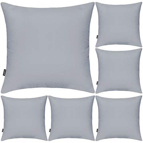 Juego de 6 fundas de almohada decorativas 100% algodón, 45 x 45 cm, cuadradas, fundas de almohada sólidas para el hogar, cama, sofá (gris claro, paquete de 6, 45 x 45 cm)