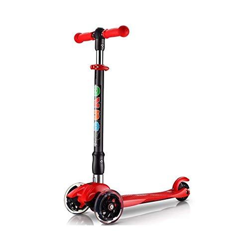 FYZS 3 Scooter de Rueda con Light Up Flash Ruedas, la Muchacha del Vespa Altura Ajustable, fácil de Doblar, Vespa for Las Edades for niños de 3-12, Carga 60kg (Color : Red)