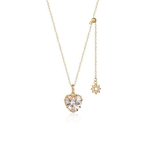 Collares en forma de corazón con colgante de circonita, collar largo ajustable chapado en oro de plata 925 con circonita 4A, gran regalo para mamá niña, collares de oro para hombre/mujer