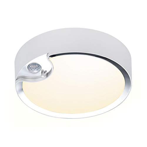 TOOWELL Motion Sensor Ceiling Light Battery Operated Indoor/Outdoor LED Ceiling Lights for Hallway Laundry Stairs Garage Bathroom 300LM Warm Photocell Sensor ON/Off Upgrade