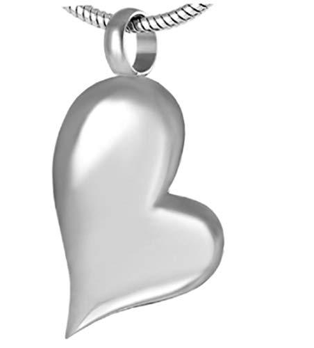 laoniu Collar de Cenizas Colgante de Collar de cenicero conmemorativo de cremación en Blanco para Recuerdos de Acero Inoxidable de cenicero Humano