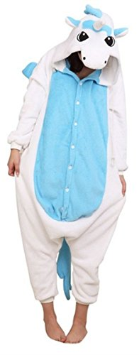 WOWcosplay Jumpsuit Tier Cartoon Fasching Halloween Kost¨¹m Sleepsuit Cosplay Fleece-Overall Pyjama Schlafanzug Erwachsene Unisex Kigurumi Tier OneSize,Blaue Einhorn M