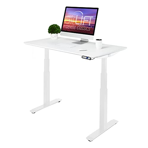 """Seville Classics OFFK65823 AIRLIFT S3 54"""" Solid-Top Electric Adjustable Desk, Dual Motor, 4 Memory (51.4"""" H) Extended Height 3-Section Sit-Stand Table, White/White"""