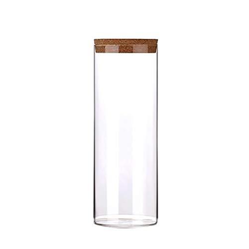 Botella de Almacenamiento de Vidrio Botella de Almacenamiento Cubierta de bambú Sellado Granos Nuts Tank Can Cocina Clasificación Caja de Almacenamiento Contenedor Grano de Cafia Especias Caja