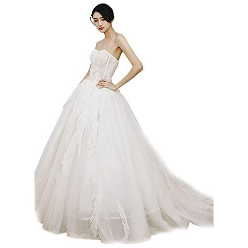 LiangDa Braut Brautkleid Art und Weise reizvolle trägerlose Brautspitze Spitze Brautkleid ist sehr geeignet for Kirche Strand-Hochzeit (Color : White, Size : 14)