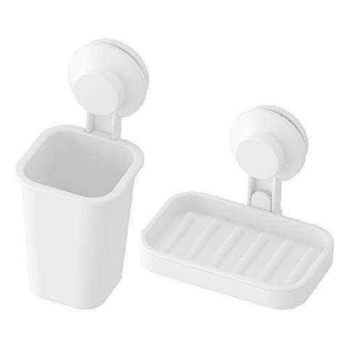 Ikea TISKEN - Juego de jabonera y Soporte para Cepillo de Dientes con ventosas, Color Blanco