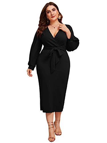 Verdusa Women's Plus Size Bishop Sleeve Plunging V Neck Belted Bodycon Dress Black 0XL