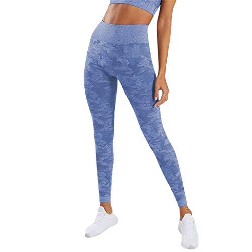Xniral Hohe Taille Yogahosen für Damen Strecken Nahtlose Leggings Slim Fit Sport Fitness Laufhose Tarnung Trainingshose(Blau,M)