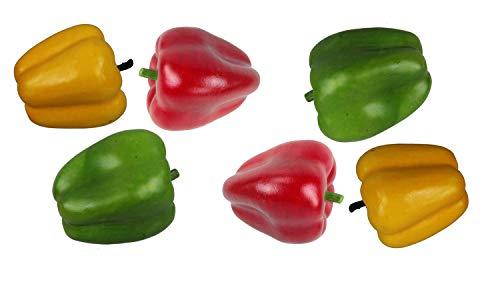 Deko Paprika 6 Stück Kunstobst Kunstgemüse künstliches Obst Gemüse Dekoration