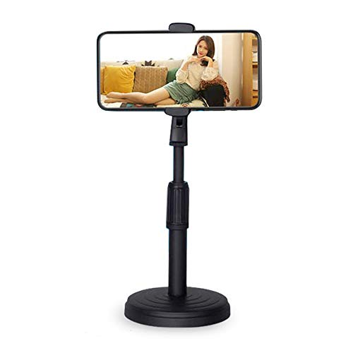 Honeytecs Desktop Cell Phone Stand Holder Clamp Tablet Stand Adjustable Height Portable Stable Round Base for Watching Online Classes Video Photo Shooting Live Streaming Black