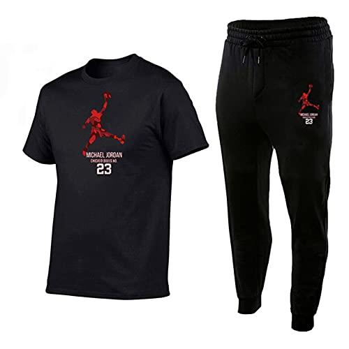 Camisetas Manga Corta Hombre Chándal Completo, 23 Jordán Ropa Deportiva, Camisetas Algodón Y Pantalones Chándal, Deportes, Niños/Adulto 2 Piezas Trajes Black-XL