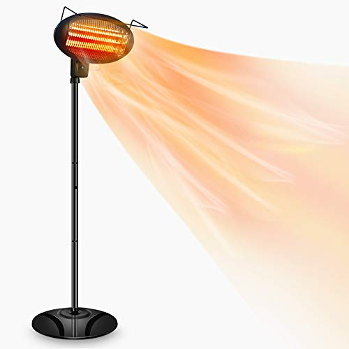 Patio Heater-1500W Outdoor Heater,Outdoor Patio Heater,Outdoor Electric Heater,Infrared Heater,w/3 Power Levels Patio Heater For Overheat Protection,Tip-Over,LED display,Weatherproof,Garage,Garden