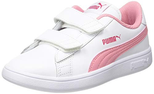 PUMA Smash V2 L V PS, Sneakers Unisex-Bambini, Bianco White/Peony/Bright Rose, 28 EU