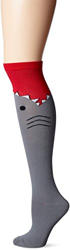 K. Bell Women's Novelty Knee High Socks, Shark Gray, 9-11