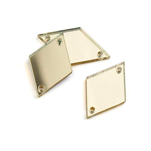 PENVEAT 15 * 25 mm 25 * 41 mm Rombo 30 Piezas Espejo Coser en Diamantes de imitación Acrílico Espejo Coser en Piedras Strass Decoración de Ropa, Dorado Claro, 25x41 mm