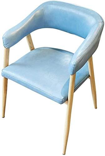 WGFGXQ Silla Asiento hogar Cera de petróleo Madera de Cuero Cafe Restaurante Occidental Postre Tienda Mesa de Comedor y sillas Silla de Oficina (Color : Blue)