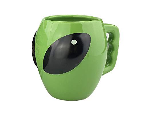 VanEnjoy Bright Green Glazed Ceramic Shape Ceramic Alien Mug Tea Coffee Cup, 3D Space Universe UFO Conspicuous Alien Cup, Gift for kid boy,13 oz(400 ml)