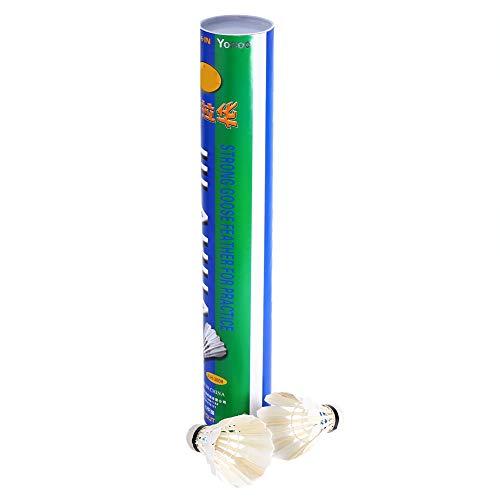 Jinxuny 12 Stück Gänsefeder-Badmintonbälle Training Badmintonbälle für Indoor-Outdoor-Sport Training mit hervorragender Stabilität Leistung und Haltbarkeit