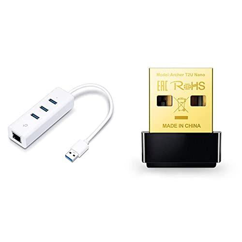 Tp-Link Adaptador USB A Gigabit Ethernet, 4 En 1 Hub USB + 1 Puerto Gigabit Ideal para Xiaomi Mi Box S + Archer T2U Nano Adaptador Inalámbrico Nano USB De Doble Banda