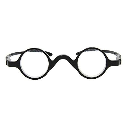 Pequeña Redondas Gafas de lectura Hombre Mujer - Hzjundasi Los anteojos Marco Lector Dioptría +4.0