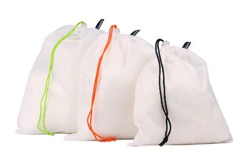 Set di 3 sacchetti leggeri con chiusura a cordoncino - 1 Small, 1 Medium, 1 Large - bianco