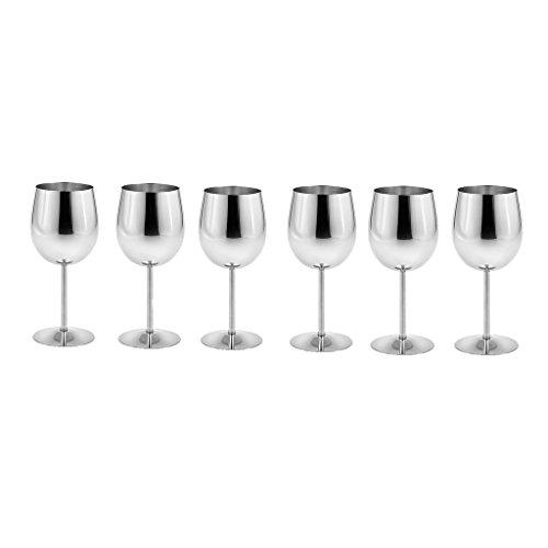 Fenteer 4/6 Stück Edelstahl Weingläser Set Goblets Sektgläser Weinkelche bruchsichere Champagner Cocktail Gläser aus Metall - Silber, 6 Stück