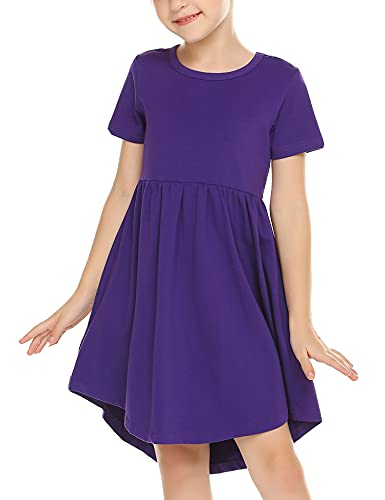 Arshiner Girl Cotton Short Sleeve A Line Skater Casual Twirly Casual Dress Purple