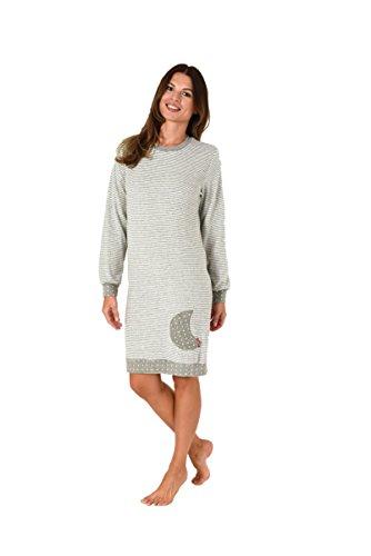NORMANN WÄSCHEFABRIK Damen Frottee Nachthemd Langarm mit Sterne Tupfen - auch in Übergrössen bis 60/62, Größe:48/50;Farbe:Ringel grau