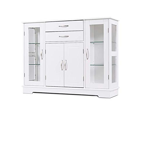 Giantex Sideboard Buffet Server Storage Cabinet W/ 2 Drawers, 3 Cabinets and Glass Doors for Kitchen Dining Room Furniture Cupboard Console Table (White)