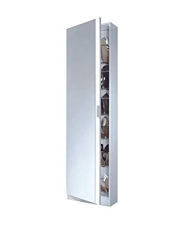 Links - Zola 6 Scarpiera a 1 porta + specchio, Melamina, Bianco, 50 x 180 x 20 cm