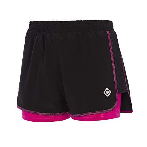 Izas Bass Pantalones Cortos, Negro/Fuxia, L para Mujer