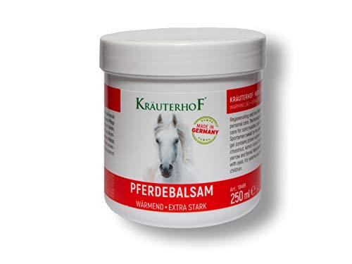 Pferdebalsam Wärmend Extra Stark von Kräuterhof 250ml - Gegen Rückenschmerzen, Gelenkschmerzen - Heilt durch Wärme und natürlichen Ingredienzien - Perfekt für Sport, Muskelkater, Rheuma