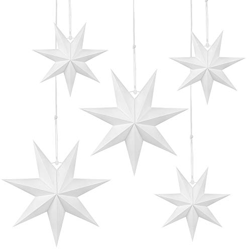 Wishstar Linternas Papel Estrella, 5 Pcs Estrellas Navidad Papel Blanco, Estrella de Techo Pantalla Colgante Adorno para Navidad, Año Nuevo, Boda, Cumpleaños, Fiesta Decoración del Hogar
