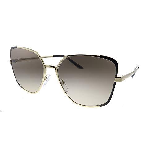 Prada PR 60XS KOF3D0 Pale Gold Metal Butterfly Sunglasses Brown Gradient Lens