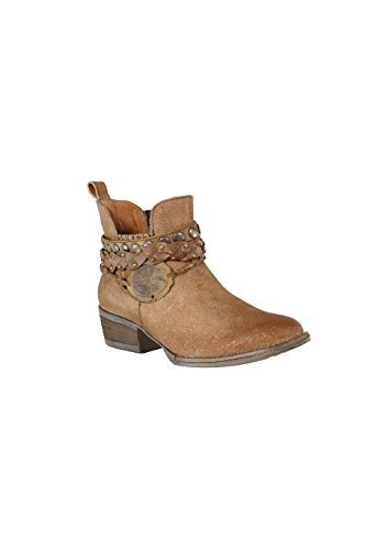 Corral Women's Brown Harness & Stud Details Round Toe Leather Western Ankle Cowboy Boots - 10.5 B