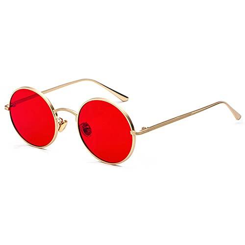 Tanxianlu Gafas de Sol con Montura metálica Redonda Dorada para Hombre, Estilo Retro de Verano para Mujer, Gafas de Sol con Lente roja, Unisex, Amarillo, Rosa, Negro,F