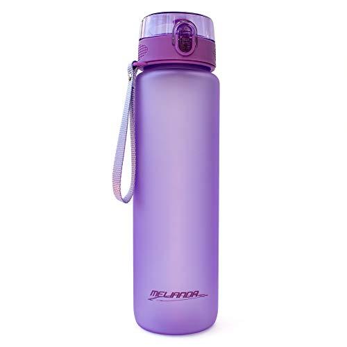 MELIANDA MA-7350 Trinkflasche Wasserflasche 1000ml Nylon Handschlaufe (Violett)