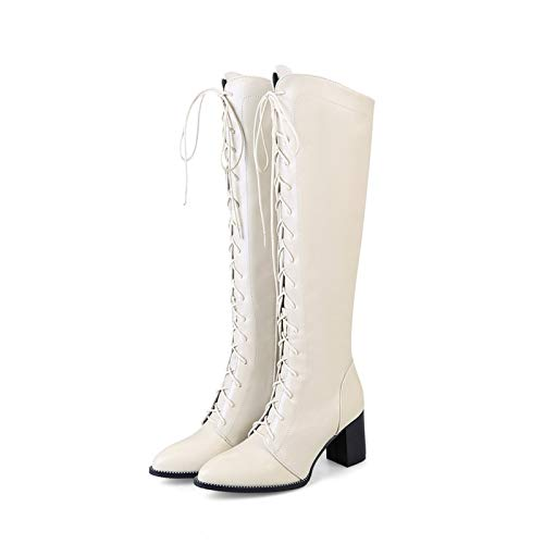 Wysokie buty na średnim obcasie, wysokie buty z paskiem z przodu, masywne buty do kolan na wysokim obcasie damskie, damskie jesienne i zimowe buty skórzane