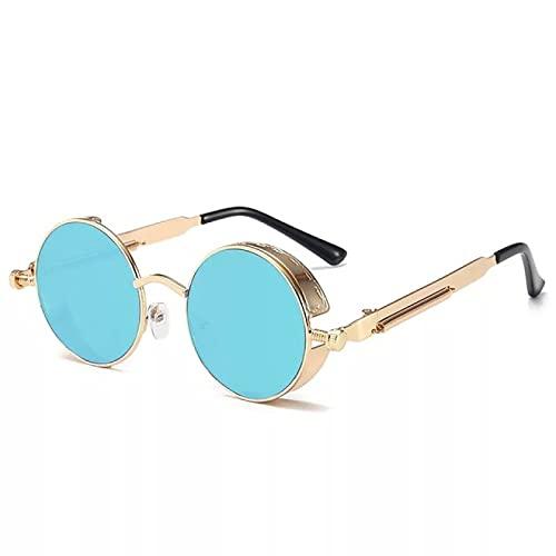 Lsdnlx Gafas de Sol,Gafas de Sol Diseñador de la Marca de Lujo Hombres y Mujeres Gafas de Sol con Montura metálica Redonda Retro UV400