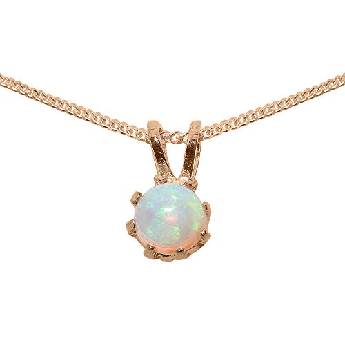 9ct Rose Gold Pendant & Chain Necklace with Natural Opal Womens Pendant & Chain Necklace - Chain length 16