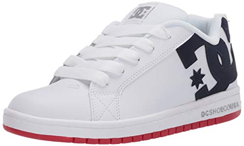 DC boys Court Graffik Skate Shoe, White/Blue/Red, 4.5 Big Kid US