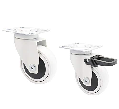 WAGNER Design - 3C - Lenkrollen/Apparaterollen/Möbelrollen 2tlg. Set - weiß, 1 Rolle ohne u. 1 mit Feststeller, Softlauffläche, Durchmesser 75 mm, Kugellager, Tragkraft 75 kg/Rolle – 02227602