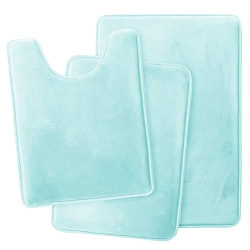 Clara Clark Memory Foam Bath Mat Ultra Soft Non Slip and Absorbent Bathroom Rug, Set of 3 - Small/Large/Contour, Aqua Light Blue, 3 Piece