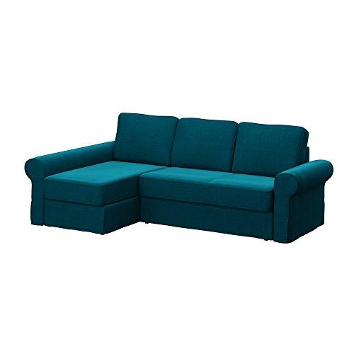 Soferia - IKEA BACKABRO Funda para sofá con chaiselongue, Elegance Turquoise