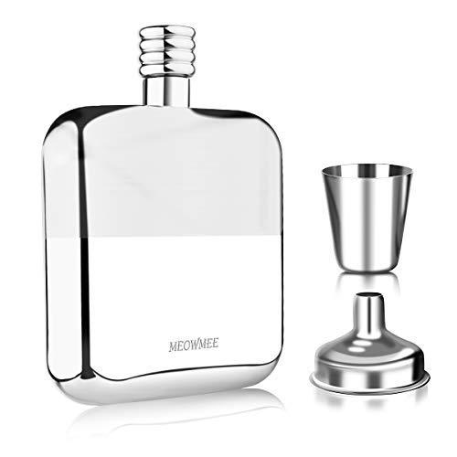 Fiaschette Acciaio, MEOWMEE fiaschetta in Acciaio Inox fiaschetta Acciaio Inox con Imbuto e Tazza Fiaschetta Portatile in Acciaio Inox per Whisky/Vodka/Vino/Alcol, 150 ml Specchio finito