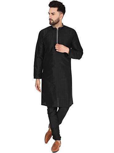 SKAVIJ Herren Tunika Kurta Pyjama Set indische traditionelle Kleidung (Schwarz, M)