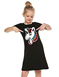 Black Cotton Short Sleeves Unicorn T-Shirt Dress