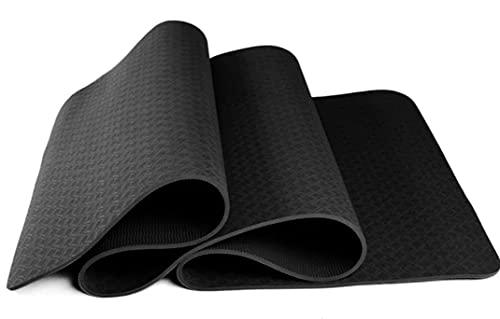 Tappetino Yoga Ecologico in TPE Antiscivolo 183cmx61cmx0.6cm venduto con Borsa Tracolla(Colore Nero)
