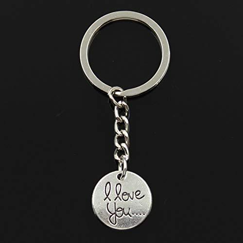 XHYKL sleutelhanger, 20 x 20 mm, ronde platen, voor hem en haar, om te knutselen, voor heren, sieraden, auto, sleutelring, aandenken, cadeau